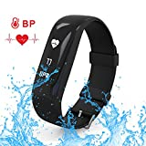 AK1980 Fitness Tracker with Heart Rate Monitor Steps Tracker Bluetooth 4.0 IP67 Waterproof and Activity Tracker Calorie Counter Watch with Sleep Monitor for Android and iOS Phones (Black)