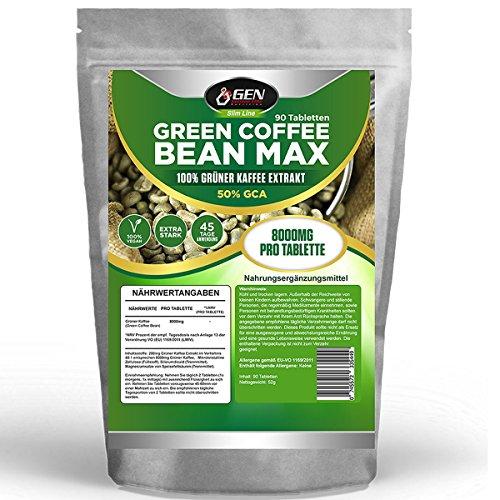 Green Coffee Bean Max - 8000mg pro Tabletle - 50% GCA - 90 Tabletten - 45 Tage Anwendung - Vegane Tabletten - Extra Starke Formel - 100% Grüner Kaffee - Zur Unterstützung während der Diät - Turbostoffwechsel - Bekannt aus dem TV