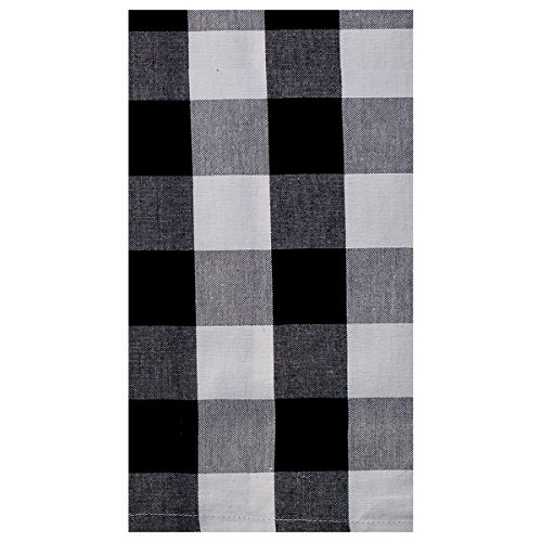 (C&F Home Franklin Buffalo Check Gingham Plaid Woven Black and White Cotton Kitchen Towel Kitchen Towel Black &)