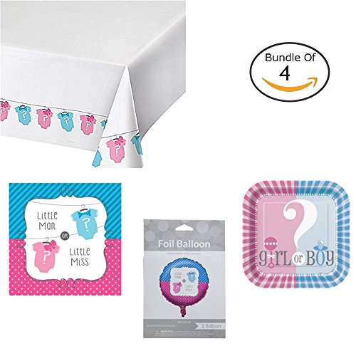 [Gender reveal baby shower party decorations bundle. Comes with boy girl baby gender tablecloth, balloons, party plates, and more gender reveal party supplies for a gender revealing] (Deluxe Smoke Mask)