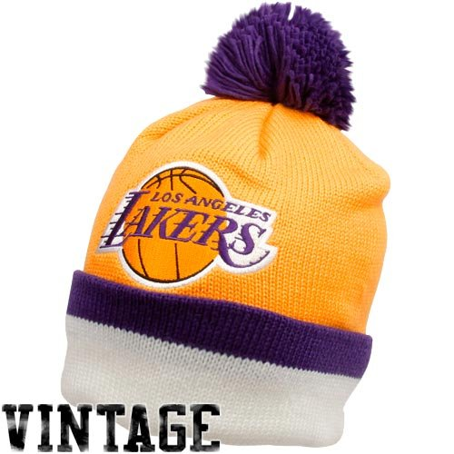 NBA Mitchell & Ness Los Angeles Lakers Gold Vintage Jersey Stripe Cuffed Knit Beanie by Mitchell & Ness