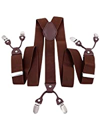 Men's Y-Back Suspenders Solid Heavy Duty Classic Shorts Suit Brace with 6 Strong Clips for Wedding Party Work Coffee