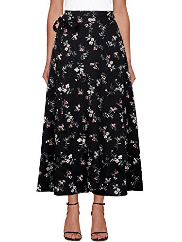 (iLover Womens High Waist Summer Beach Wrap Cover up Maxi Skirt)