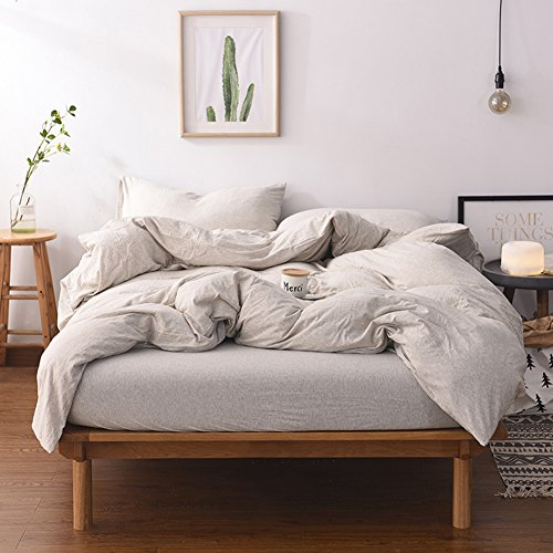 Adyonline 3 Pcs Jersey Cotton Comforter Cover Set Solid Pattern(1 Duvet Cover,2 Pillow Shams)Home Bedding Set for All Seasons---Breathable&Ultra Soft\Ivory Coffee,Queen