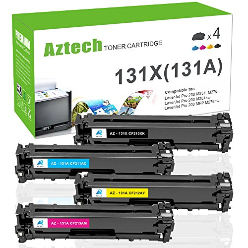 Aztech 4 Pack Compatible for HP 131A 131X MFP M276NW M251NW Toner Cartridge Ink for HP Laserjet Pro 200 Color M251NW MFP M276NW, Canon ImageCLASS MF8280Cw Printer (CF210X CF210A CF211A CF212A CF213A) -