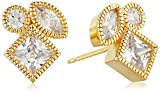 18k Yellow Gold Plated Sterling Silver Cubic Zirconia Three Stone Geometric Stud Earrings