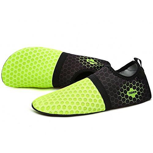 YIRUIYA Frauen Männer Quick-Dry Barfuß Wasser Schuhe Haut Aqua Socken Mit Entwässerung Löcher ¡ Grün-neu