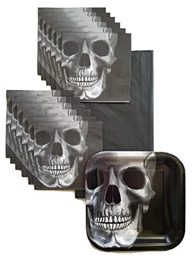 Day of the Dead Dia De Los Muertos Skull Party Supplies Paper Plate and Napkin Bundle of 3 - Service for 16 ()