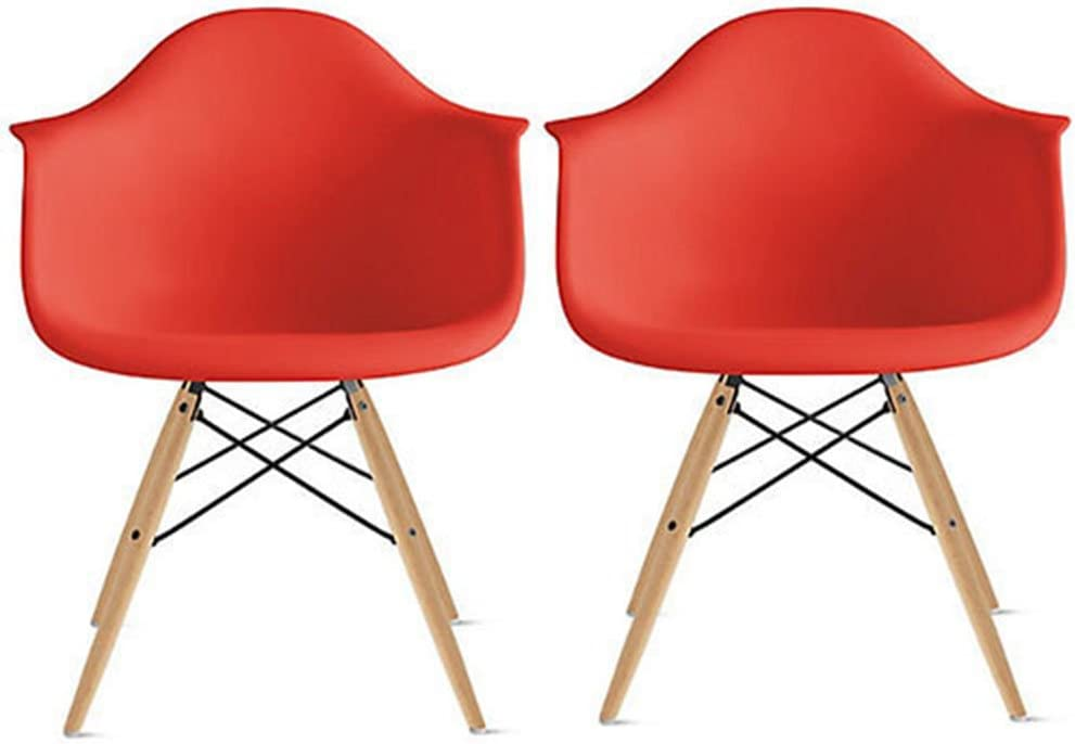 2xhome Set of Two (2) - Plastic Armchair Natural Wood Legs Eiffel Dining Room Chair - Lounge Chair Arm Chair Arms Chairs Seats Wooden Wood Leg Wire Leg (Bright Red)