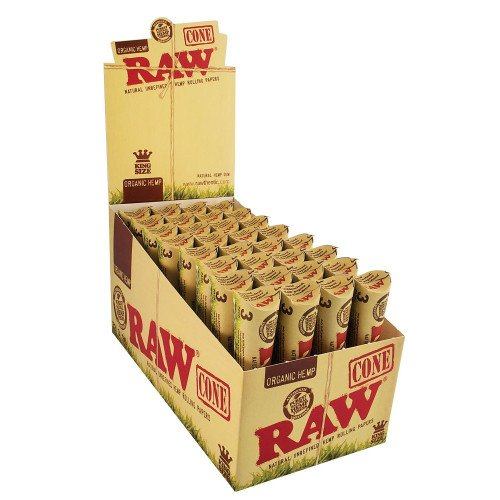RAW CONES ORGANIC HEMP PRE ROLLED KING SIZE 3 CONES PER PACK UNFLAVORED FLAVOR PACK OF 32 by RAW