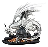 Ebros Large 20'' Long White Cloud Dragon Guardian of Treasure Mine Statue with Secret Jewelry Treasure Chest Druid Dwarf Guardian Dungeons and Dragons Figurine LOTR GOT The Hobbit Themed Sculpture