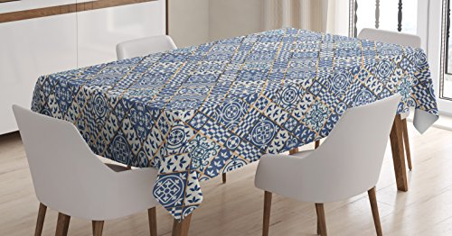 Orange Elegance Square Tablecloth (Moroccan Tablecloth by Ambesonne, Squares and Rectangles Oriental Compositions Floral Arrangement Geometric, Dining Room Kitchen Rectangular Table Cover, 52 W X 70 L Inches, Blue Orange White)