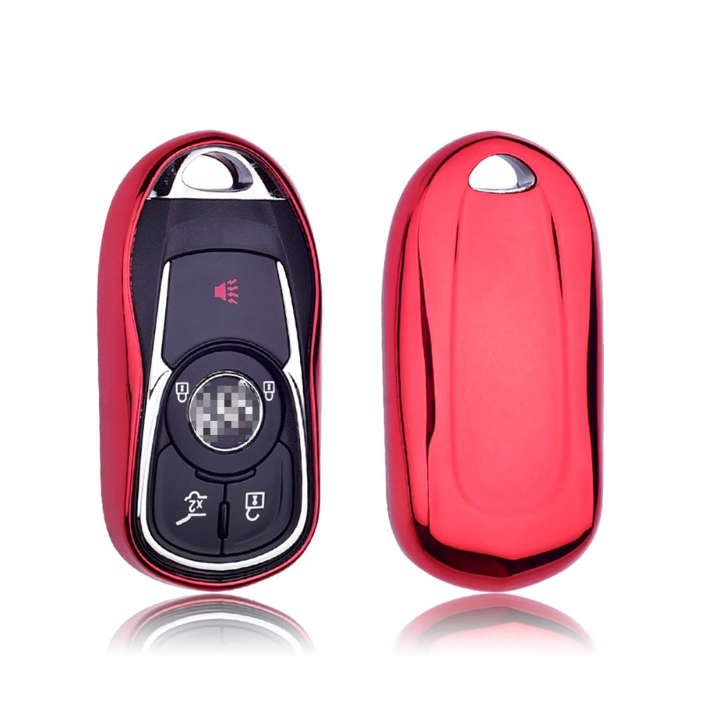 GEERUI Compatible with Buick Key Fob Cover, Soft TPU Key Fob Case Protector Holder for Buick 2019 2018 2017 2016 2015 Encore Envision Enclave Regal Verano Lacross GL8 Keyless Entry (Red)