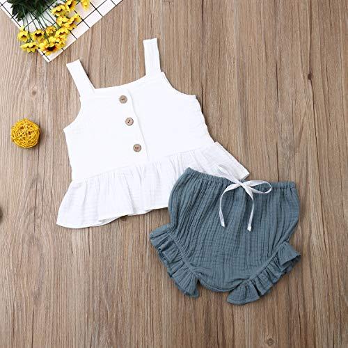 VISGOGO 1-5Y Newborn Baby Girls Button Sleeveless Crop Tops + Mini Shorts Outfits 2pcs Clothing Set