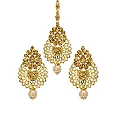 wholesale Bindhani Indian Wedding Bridal Head Mang Tika or Kundan Earrings And Tikka Jewelry For Women supplies