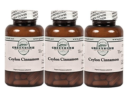 3 Bottle Pack Organic Ceylon Cinnamon 100 Vegetarian Capsules 575mg True Cinnamon for Blood Sugar, Abdominal Fat, Cholesterol, Urinary Tract, Digestive Health, Pain Management and Mental Function. For Sale