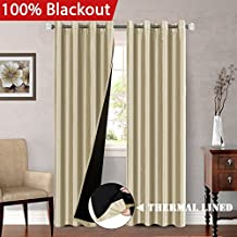 Full Blackout Lined Curtains Faux Silk with Natural Liner Backing (2 Panels) Thermal Insulated Nickel Grommet Window Panels for Bedroom / Living Room, 52W x 84L, Solid Beige