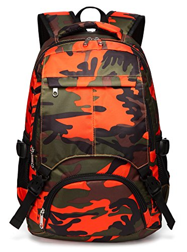 Kids Backpack for Boys Girls Primary School Bags Bookbags for Children (Camouflage Orange)