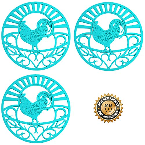Country Rooster Teapot - Silicone Trivets Set For Hot Dishes | Modern Kitchen Hot Pads For Pots & Pans | Country Rooster Design (Symbol of Prosperity & Good Luck) Mimics A Cast Iron Trivet (7.5