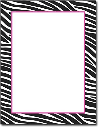 Zebra Border Stationery Paper - 100 Sheets Border Letterhead 100 Sheets