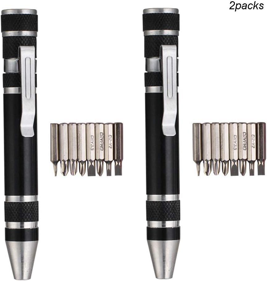Huture 2 Packs Complete Premium Multifunction Mini Screwdriver Set 8 in 1 Durable Gadgets Repair Aluminum Pen Handle Phillips Slotted Tool Kit for Home Improvement Black