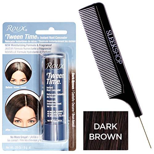 Roux TWEEN TIME Instant ROOT CONCEALER Hair Crayon, No More Grays (w/Sleek Steel Pin Tail Comb) Blend Grey, Hair Color Dye 0.28 oz / 8g, NEW Moisturizing Formula & Fragrance (Dark Brown) -  tween-time