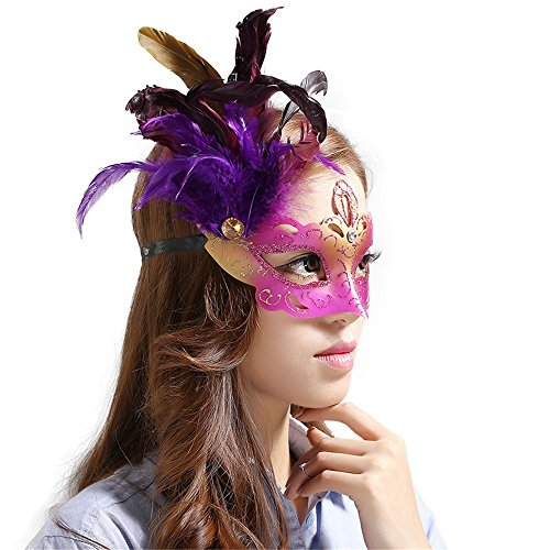 Mardi Gras Party Masquerade Mask,Mask Halloween Venice Makeup Dance Half face Party Feather mask Plum red Prom Masks