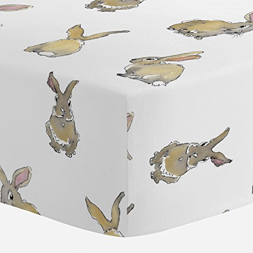 Carousel Designs Watercolor Rabbits Crib Sheet - Organic 100% Cotton Fitted Crib Sheet - Made in The USA