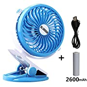 BLUBOON Clip On Fan Battery Operated Quiet Silent 5  Portable Stroller Fan