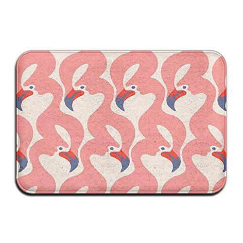 Price comparison product image Charming Flamingo Print Soft Non Slip Absorbent Bath Rugs, Memory Foam Bath Mats
