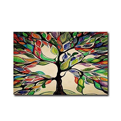 Vandarllin Colorful Tree of Life Gorgeous Like Feather Doormats Entrance Mat Floor Rug Indoor/Outdoor/Front Door/Bathroom Mats Rubber Non Slip,23.6x15.7