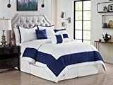 7-Pc Joey Windowpane Square Rectangle Bordered Boxed Stripe Comforter Set King Off-White Navy Blue