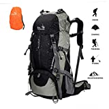 novosun Hiking Backpack 50L Waterproof,Lightweight Camping Backpack Men Women External Frame Backpacking Backpack Rain Cover Travel Backpack Hiking Camping Climbing Outdoor (Black)