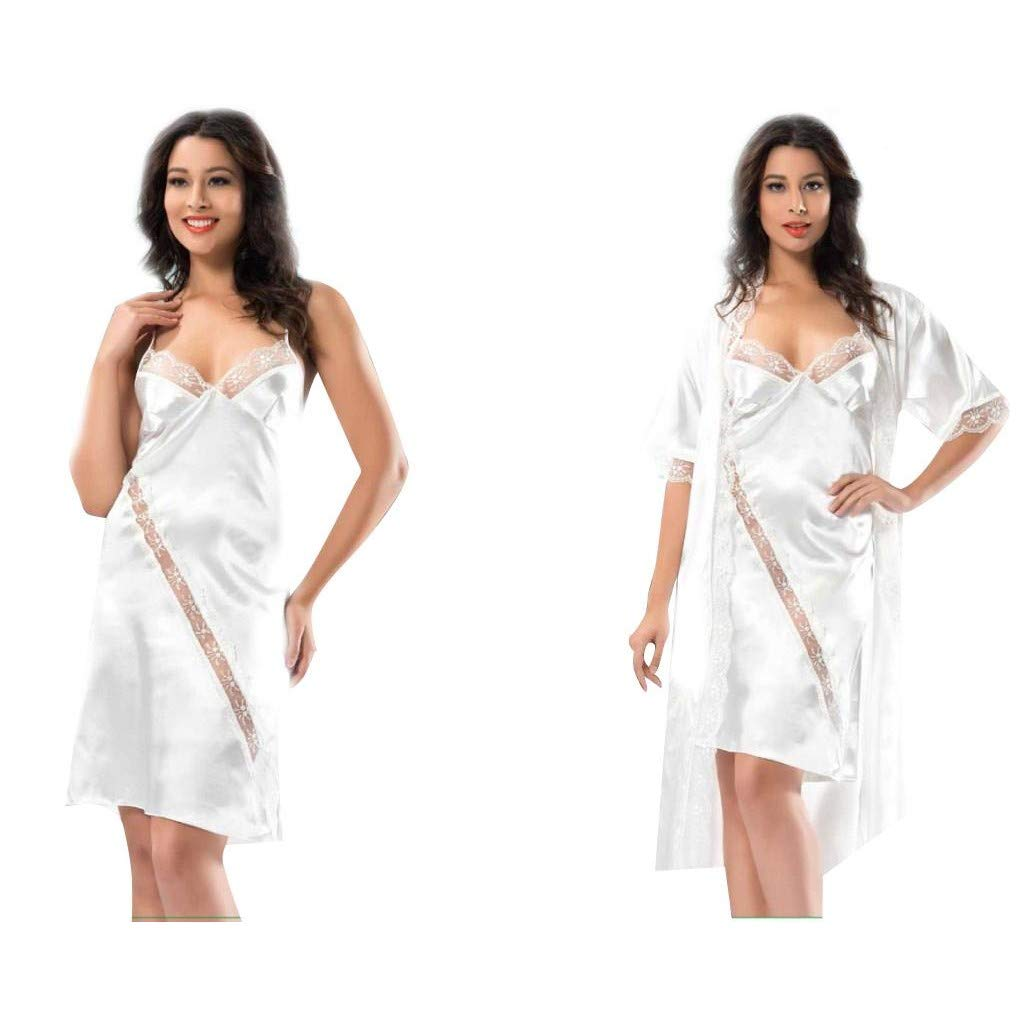 Ablamshop - Juego de 2 Pijama para Mujer de Seda y satén Falda de ...