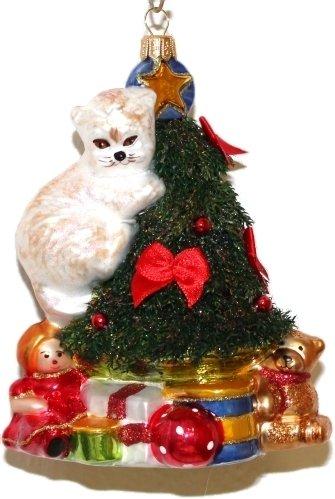Katze Chistbaumschmuck Katzchen Weiss Weihnachtsbaum Weihnachtskugel