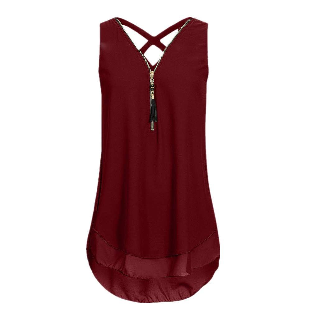 iYBUIA Women Loose Sleeveless Solid Tank Top Cross Back Hem Layed Zipper V-Neck T Shirts Tops (XXL, ZA-Wine)