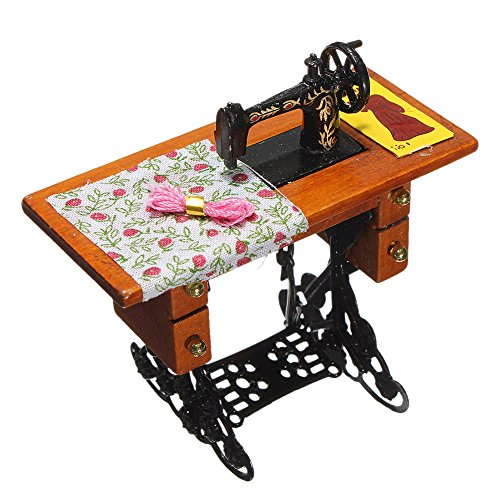 GogoForward Vintage Miniature Sewing Machine for 1/12 Scale Dollhouse