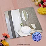 VROSELV Custom Cotton Microfiber Ultra Soft Hand Towel-new round sink and mirror with stainless steel faucet Custom pattern of household products(20''x20'')