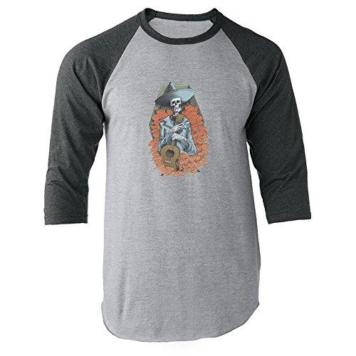 Mariachi Skeleton Halloween Costume Horror Death Apparel Music Guitar Gray XL Raglan Baseball Tee Shirt