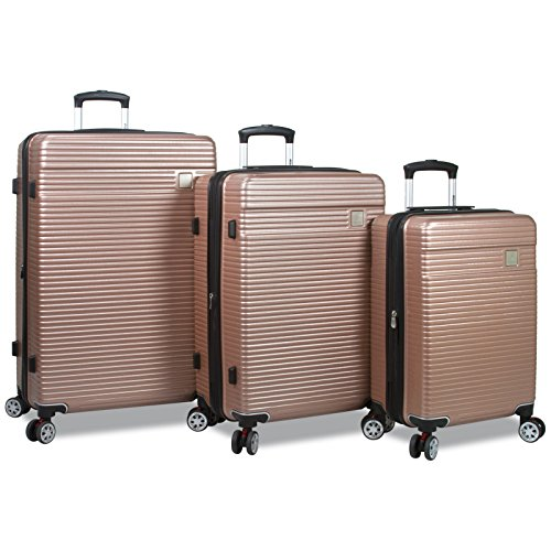 Dejuno Ashford 3-PC Hardside Spinner TSA Combination Lock Luggage Set - RoseGold by Dejuno