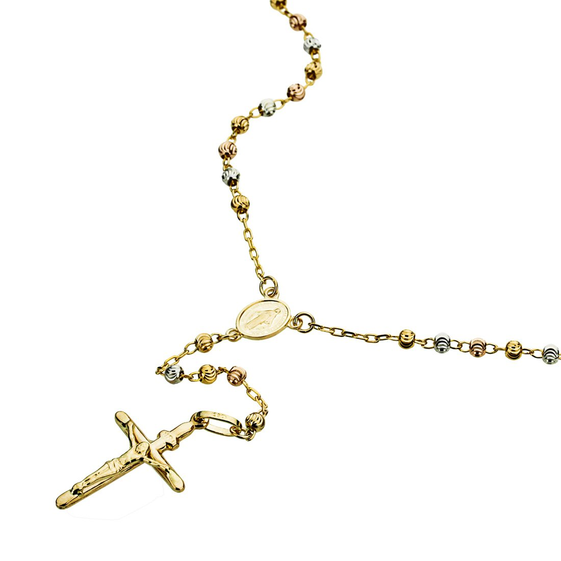14K Tri-color Gold Rosary Necklace 3mm Moon Cut DC Bead Rosary Chain Necklace (16, 18, 20, 24 Inches), 20''