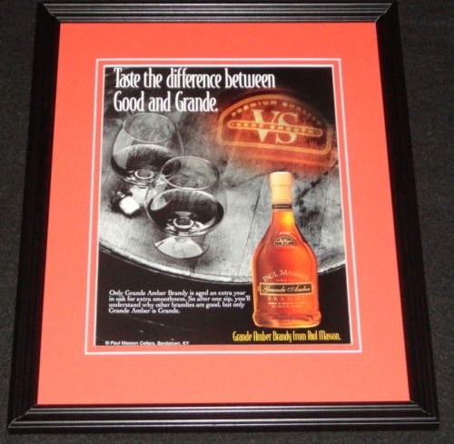 1995 Paul Masson Grande Amber Brandy Framed ORIGINAL Vintage Advertisement