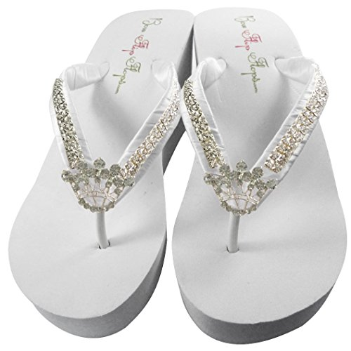 Ultimate Bling Princess Crown Wedge Flip Flops, Bride Bridesmaid Wedding Sandals (Ultimate Bling)
