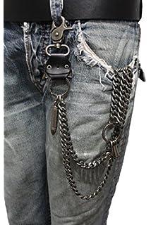 fe19b7611cc6 TFJ Men Wallet Chain Biker Fashion Metal Jeans Guns Bullets Charm Skull  Rusty Silver