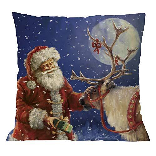 Clearance!Sothread Christmas Throw Pillowcase Decor Sofa Cushion Cover Santa Claus 18x18 (S)