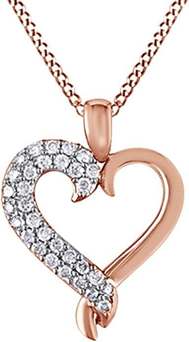 Valentine/'s Day Love Gift Diamond Heart Necklace 1//10 ct tw Round-Cut 14K Gold Plated