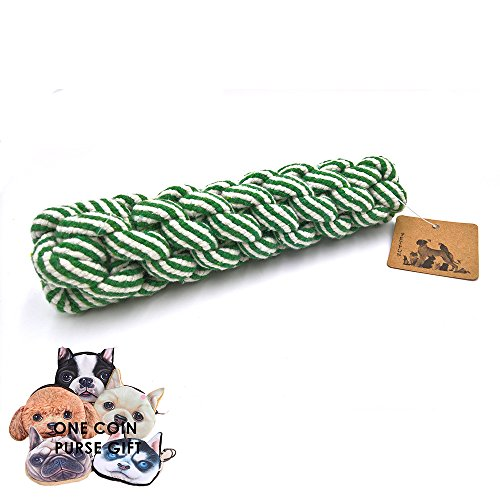 PetFun Natural Cotton Teething Chewer Toy for Puppy, Small and Medium Dogs-Green and Blue ()