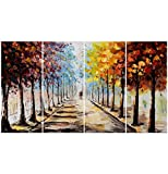 Designart OL3501-271 4 Panel Hand Painted Landscape Forest Lets Go for a Stroll Canvas Artwork