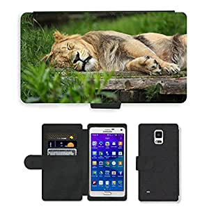 Hot Style Cell Phone Card Slot PU Leather Wallet Case // M00114648 Africa African Animal Carnivore Cat // Samsung Galaxy Note 4 IV
