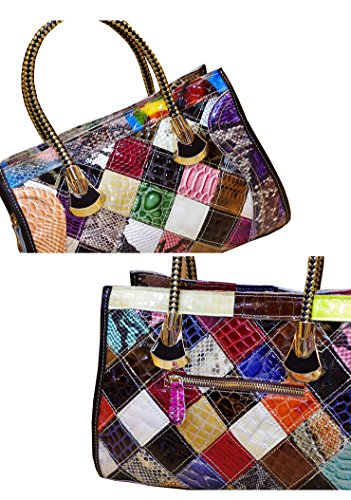 Multicolor Lady Lattice Tote Colorful For Oruil Zip Flower Flower Rhinestone Leather 3D Work For With Serpentine Stitching With Cow Handbag Handbag Bag Women Multicolor Medium xpq17Ox